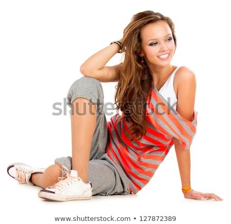 Meisje vergadering vloer vrouw mode Stockfoto © Paha_L