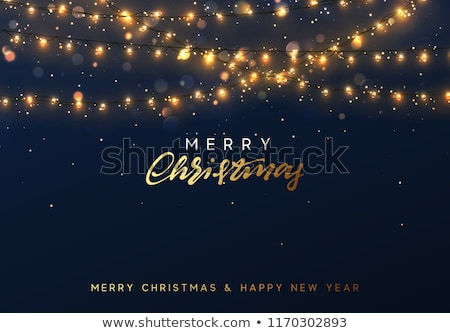 merry christmas card with neon color and bokeh lighting background stock photo © rommeo79