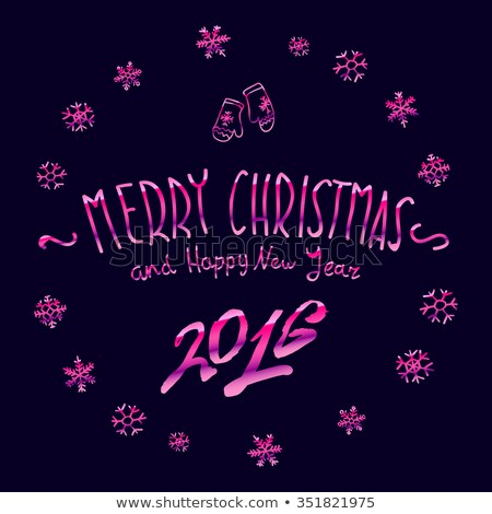 pink glowing Merry Christmas and happy New Year 2016 lettering collection. Vector illustration    stock photo © rommeo79