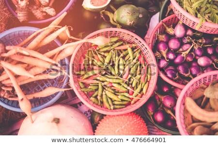 Tailândia · mercado · comida · foco · alho · mulher - foto stock © mariusz_prusaczyk