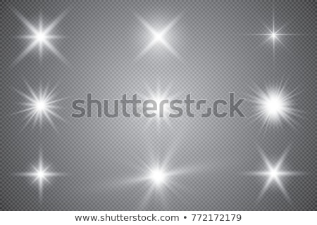 Stok fotoğraf: Vector Set Of Glowing Light Bursts With Sparkles On Transparent Background