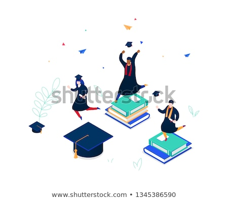 Man in graduation cap holding book. Stock photo © RAStudio