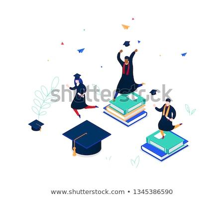 diák · áll · olvas · tankönyv · vektor · fiatalember - stock fotó © rastudio