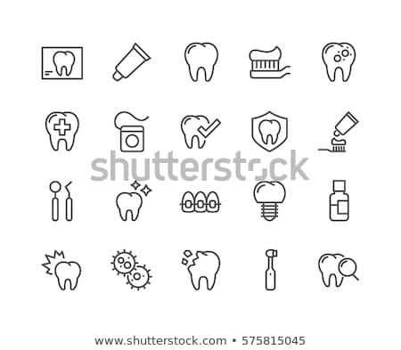 Fogkefe fogkrém vonal ikon sarkok háló Stock fotó © RAStudio