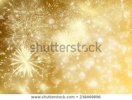 Stockfoto: Gouden · vuurwerk · licht · glas · bril · winter