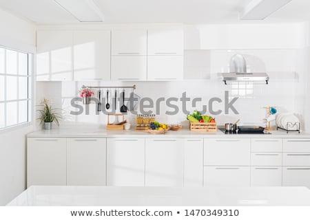 utensílios · de · cozinha · branco · cozinha · azul · tela · copo - foto stock © bluering