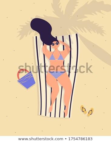 солнечные ванны пляж тропический пляж назад доска для серфинга Сток-фото © dash