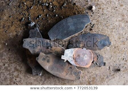 pair of old rusty worn brake pads stock photo © ozgur