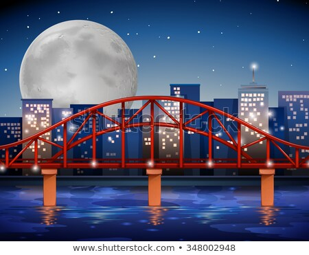 Scene with fullmoon over the river Stock photo © bluering