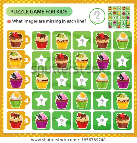 Matching game template with kids and desserts Stock photo © bluering