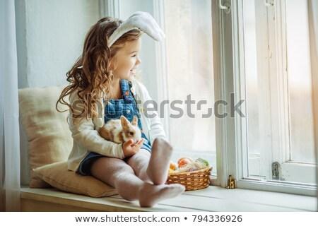 Nyúl szeretet tojás fehér ölel díszített Stock fotó © Soleil