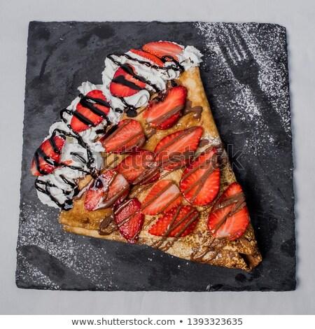 Dessert, sweet, fruits, cream, plate Stock photo © zurijeta