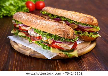 Baguette sandwich tabel restaurant brood ontbijt Stockfoto © racoolstudio