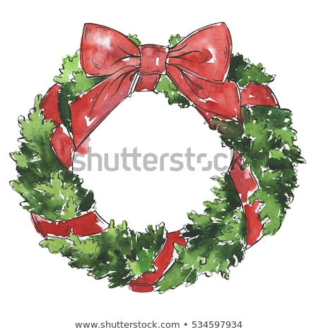 watercolor christmas wreath hand drawn illustration xmas decor stock photo © trishamcmillan