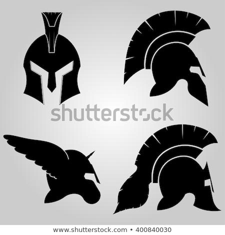 spártai · sisak · sziluett · szimbólum · gladiátor · katona - stock fotó © boogieman