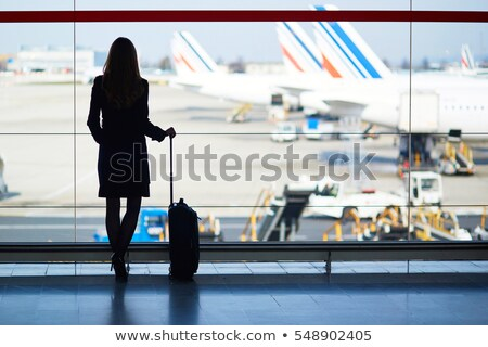 femme · d'affaires · silhouette · vol · avion · aéroport · affaires - photo stock © ssuaphoto