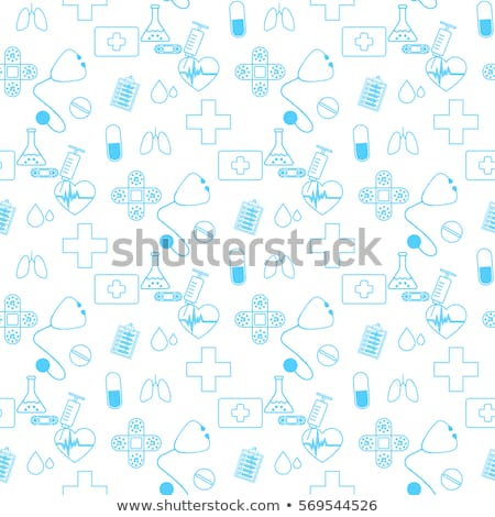 Medical seamless pattern , clinic vector illustration. Hospital thin line icons - thermometer, check Stock photo © Nadiinko
