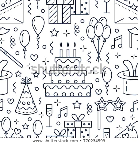 Event agency, wedding organization vector line icon. Party service - catering, birthday cake, balloo Stock photo © Nadiinko