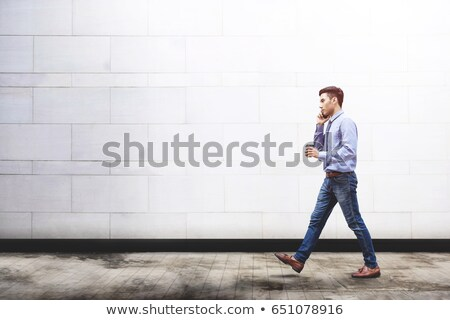 genç · Asya · adam · gözlük · konuşma - stok fotoğraf © deandrobot