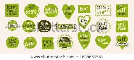 Vegan szív kéz szöveg 100 százalék Stock fotó © zsooofija