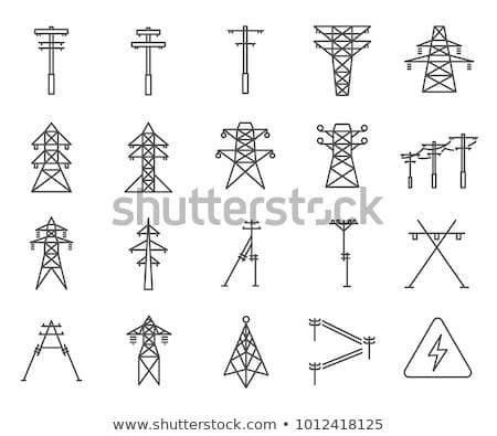 elétrico · torre · alta · tensão · eletricidade · ilustração · laranja - foto stock © rastudio
