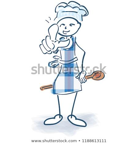 Stick figure Кука приготовления чаевые здоровья образование Сток-фото © Ustofre9