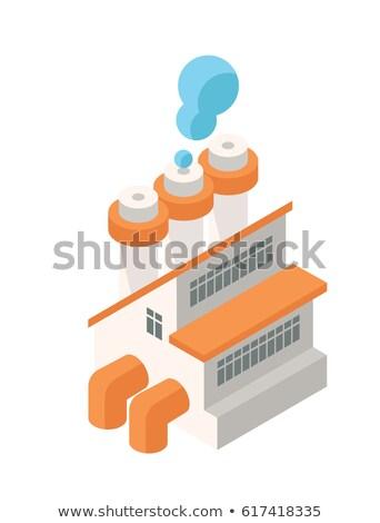 Izometrikus ipari gyár épület ikon háló Stock fotó © Loud-Mango