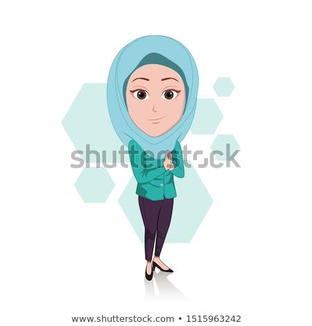 Güzel Müslüman kadın beyaz başörtüsü mutlu Stok fotoğraf © NikoDzhi