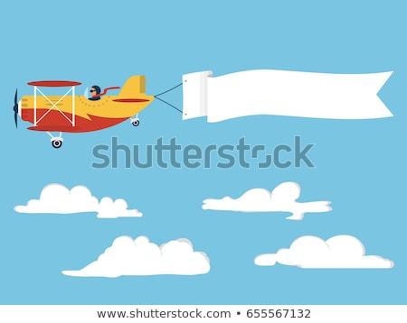repülőgép · repülőgép · húz · szalag · rajz · illusztráció - stock fotó © mechanik