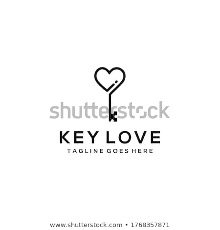Sleutel hart metaal Rood slot Stockfoto © make