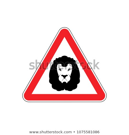 Attention Lion. Leo on red triangle. Road sign Caution predator Stock photo © popaukropa