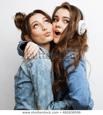 Stockfoto: Best Friends Teenage Girls Together Having Fun Posing Emotional On White Background Besties Happy