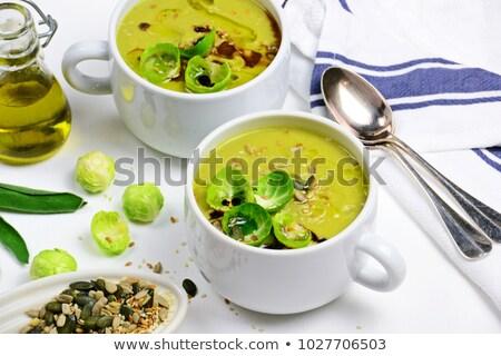 Krém leves tányér zöldségleves kék hely Stock fotó © Digifoodstock