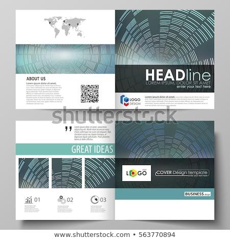 bi fold brochure template design made with geometric shapes Stock photo © SArts