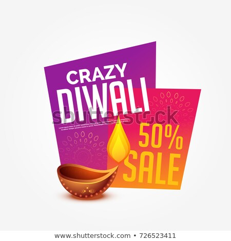 diwali sale offer discount label design with burning diya Stock photo © SArts