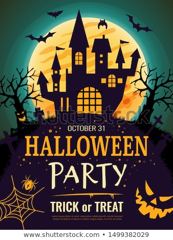 halloween party vector illustration with moon on orange background holiday design with spiders and stock photo © articular
