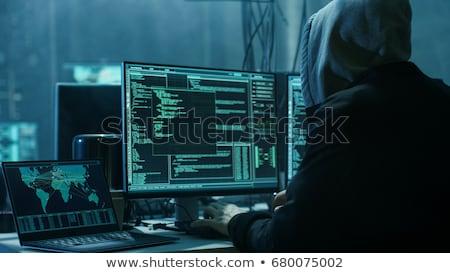 Stock fotó: Hooded Computer Hacker Hacking Network