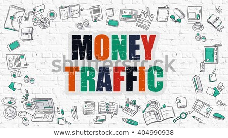 money traffic concept multicolor on white brickwall stock photo © tashatuvango