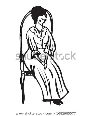 güzel · esmer · siyah · deri · sandalye · portre - stok fotoğraf © traimak
