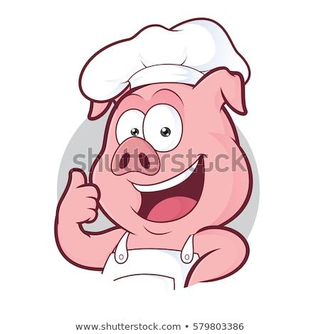 Varken chef bakker mascotte Stockfoto © Krisdog