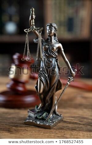 Droit justice marteau sablier affaires bureau Photo stock © neirfy
