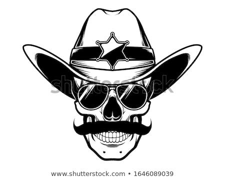 Szörnyű koponya sheriff cowboy western kalap Stock fotó © Krisdog