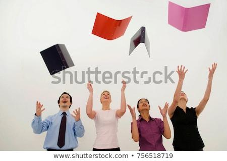 grupo · pessoas · de · negócios · saltando · alegria · excitação - foto stock © is2