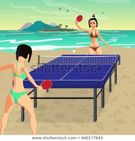 Donna bikini giocare tennis da tavolo estate palla Foto d'archivio © IS2