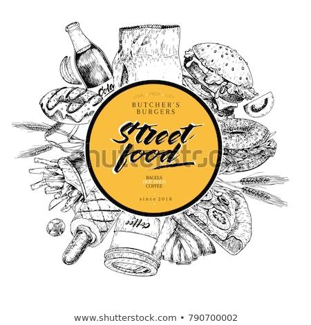 Straat fast food cafe folders ingesteld restaurant Stockfoto © studioworkstock