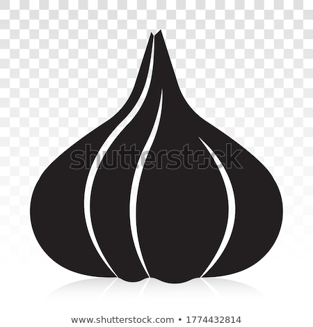 свежие чеснока силуэта изолированный черный группа Сток-фото © deandrobot