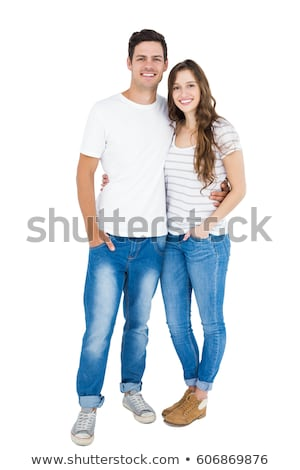 Young couple posing isolated on white Stock photo © Giulio_Fornasar