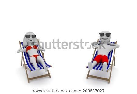 3d vrouw bikini zonnebaden strand 3D jongeren Stockfoto © texelart