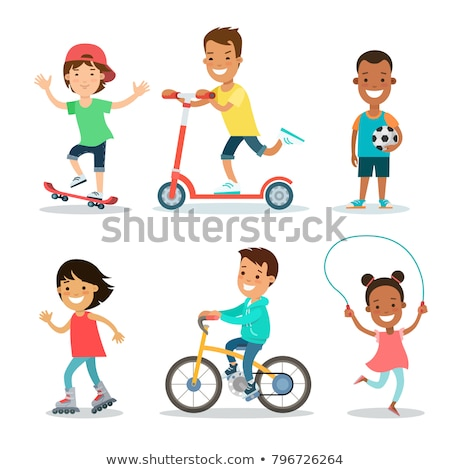 Teenager with bike and football Stock photo © IS2