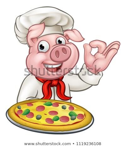 Wieprzowych pizza kucharz maskotka Zdjęcia stock © Krisdog